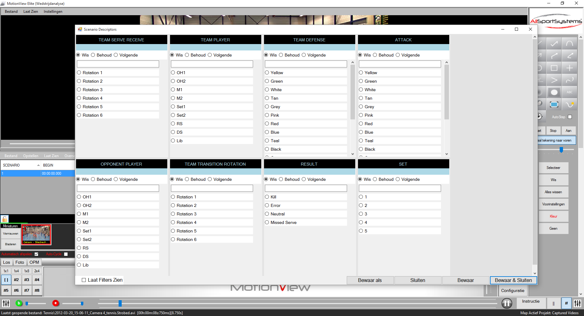 MotionView - Volleybal - Descriptor Settings